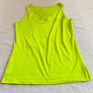 Columbia Lime Green V Neck Workout Tank Top
